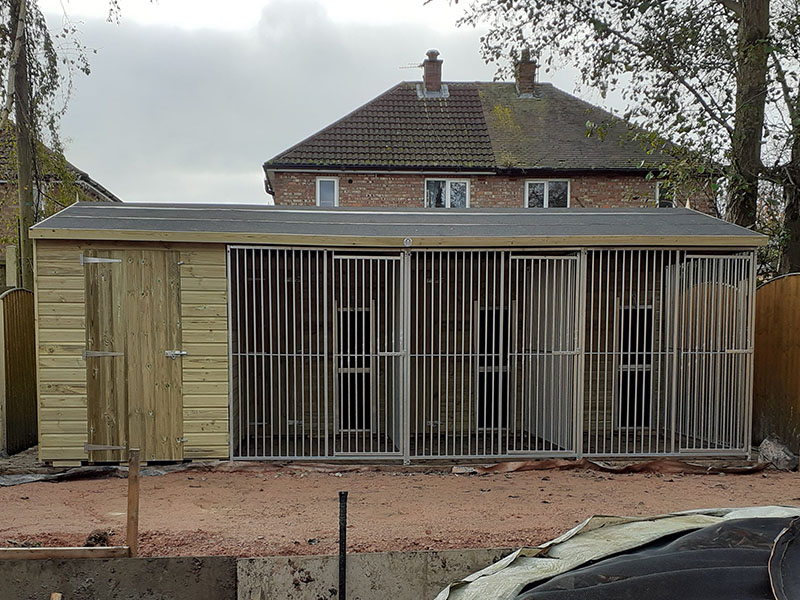 Dog Kennel Block with Side Shed